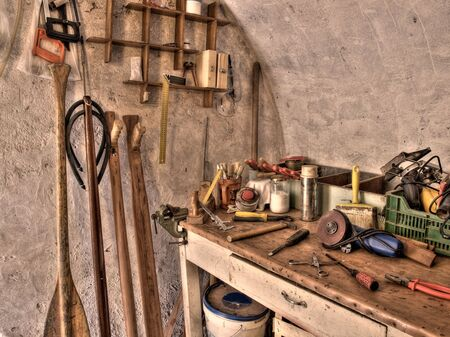 speargun: The place where someone can make  a wooden paddles or underwater spear guns.Toned HDR image. Stock Photo