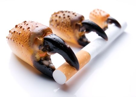 tumor stage: The metaphor about three stages of  development of the lung cancer because of smoking. Stock Photo