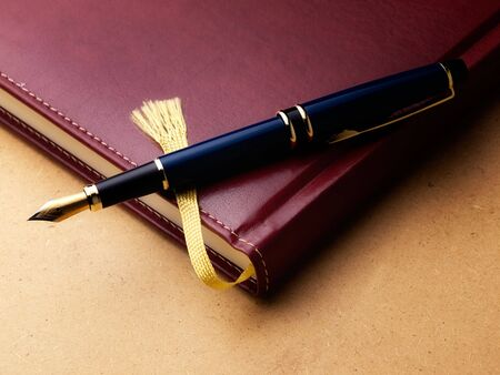 log book: Old fashioned diary or log book with a fountain pen  on a grungy background.