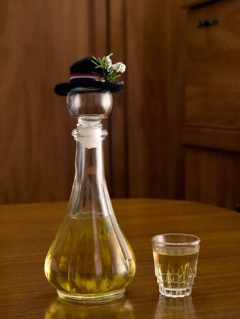 rakia: Homemade  brandy with a croatian hat on the bottle.