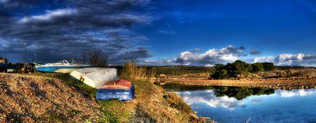 adriatic: Panorama with boats somewhere in Croatia,Adriatic sea. Stock Photo