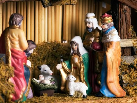 three animals: Visit of  Epiphany to newborn Jesus...