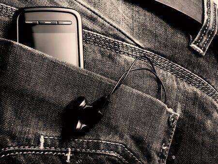 Met�fora sobre la nueva generaci�n de jeans con equipos digitales. Tonos de imagen de BW.