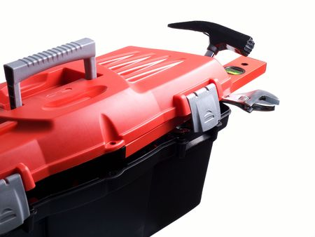 Closeup of plastic toolbox isolated on a white background. Stock Photo - 6484189