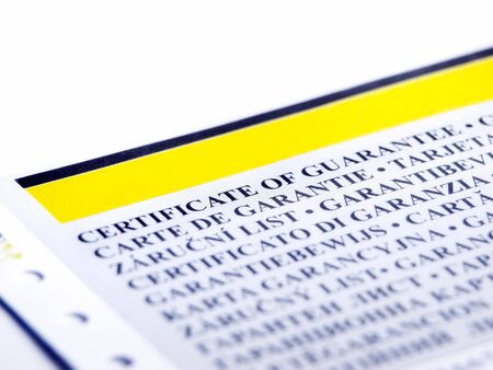 acknowledgement: Closeup of the part of  document like a certificate of guarantee. Stock Photo