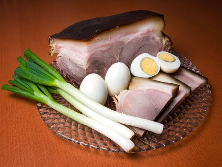 Ham, onion and eggs, a common food in the spring Easter time photo