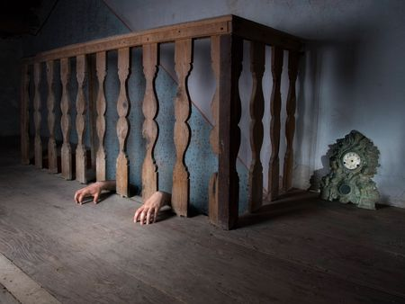 possessed: The eternal fear that lies at the bottom of the basement. Stock Photo