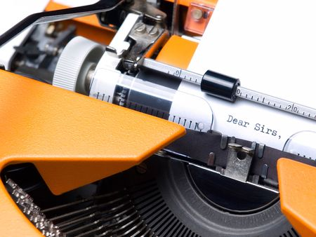 Common introductory phrase of many business letters, typewritten. Stock Photo - 6901891