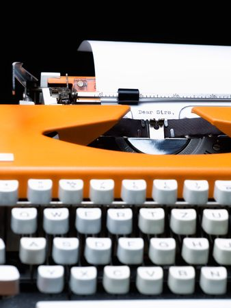 Common introductory phrase of many business letters, typewritten. Stock Photo - 6991944