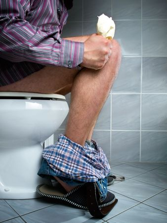 laxatives: A common need of every living being, but characteristic view only for a man... Stock Photo