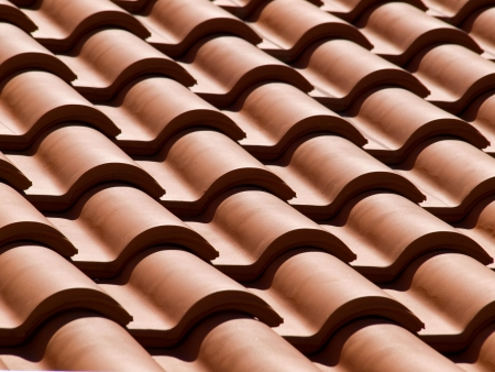Closeup view of a new house roof. photo