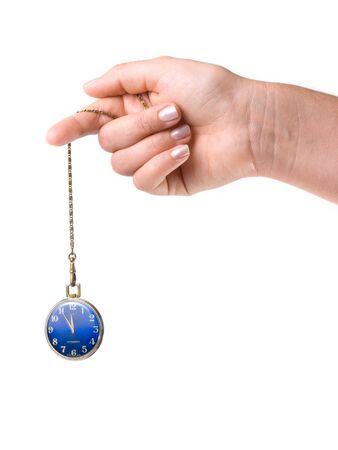 reloj de pendulo: Reloj de bolsillo en la cadena, a menudo se utiliza para el tratamiento de la hipnosis.