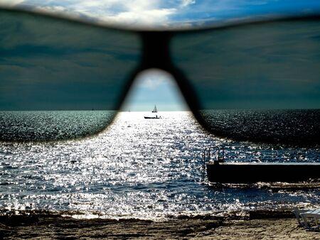 adriatic: View through the sunglasses on the Adriatic Sea