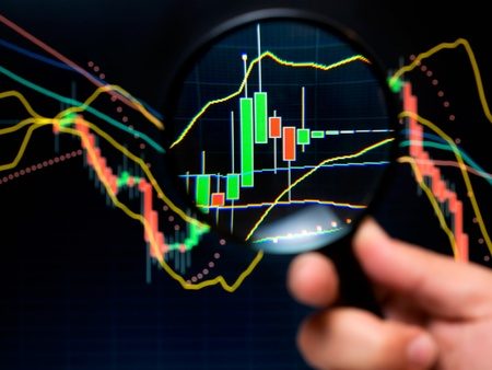 Magnifier and graph, basic tools of technical analysis on the stock market. photo