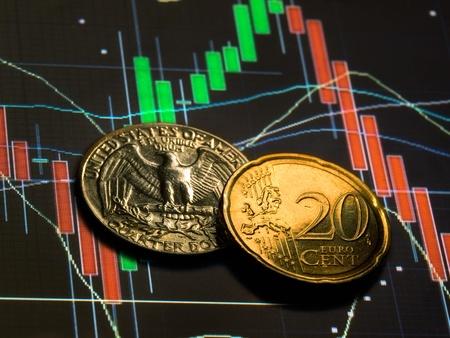 agente comercial: Aproximadamente el mismo valor de las monedas de dos principal competidor en el mercado de divisas de divisas. Foto de archivo