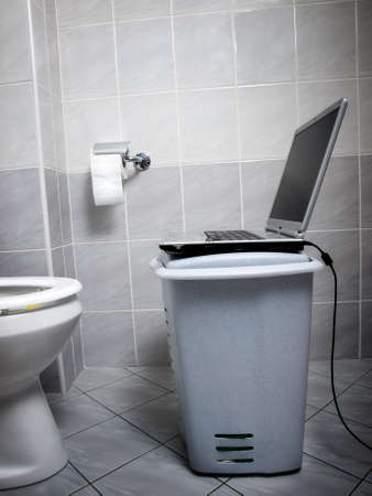 View of  improvised internet point at the toilet... Stock Photo - 8513542