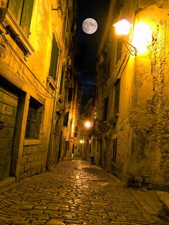 Night view of a street typical for Mediterranean architecture.