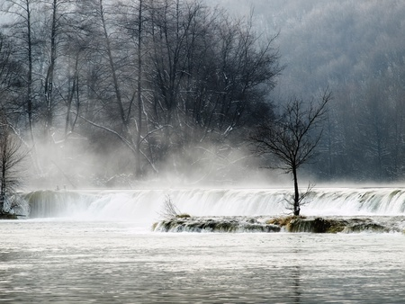Waterfall in the winter morning on the mountain river called Mreznica in continental part of Croatia. Stock Photo - 8538734