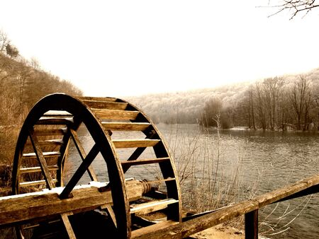watermill: Wooden wheel of an old watermill on the river Mreznica in Croatia.