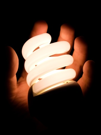 Modern light bulb in a hand as the concept of energy saving. photo