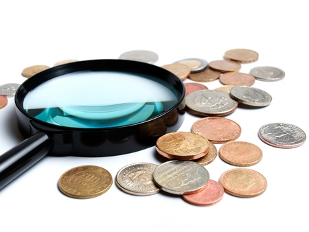 numismatics: Two main things in numismatics, magnifiers and coins... Stock Photo