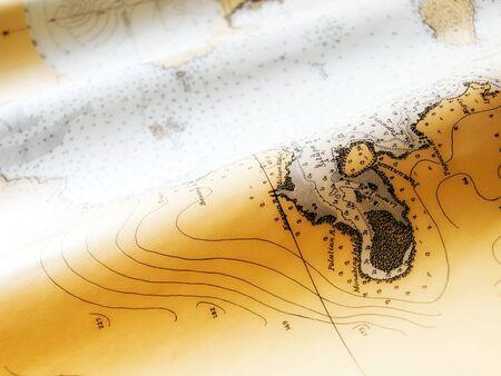 Closeup view of an old nautical chart. photo