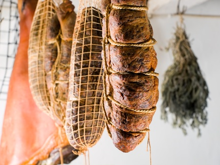 smoked: Domestic smoked meat products produced in the traditional way in an old smokehouse.