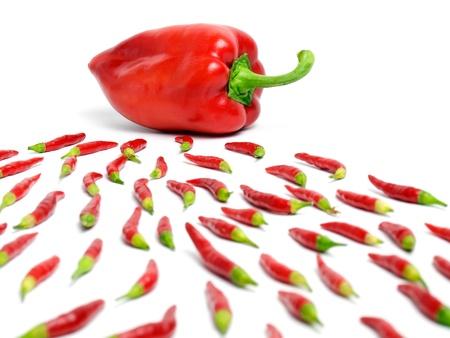 espermatozoides: Vista metafórico de fertilización presentada con pimienta y chili.