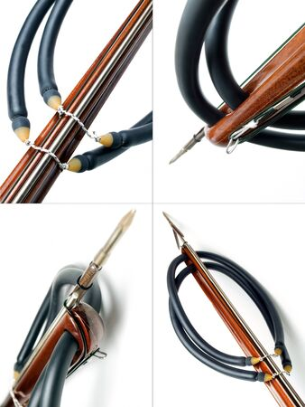 speargun: Collage of four different views to the front of handmade wooden speargun on white background.