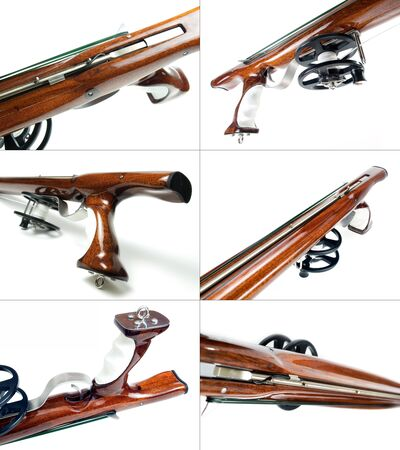 speargun: Collage of six different views to the rear part of handmade wooden speargun on white background.