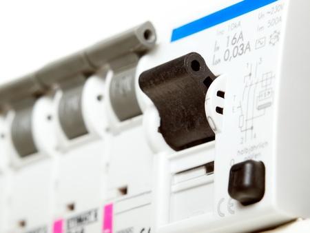 Closeup Blick auf automatische elektrische Sicherungen ...