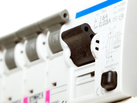 Closeup view of automatic electric fuses... photo