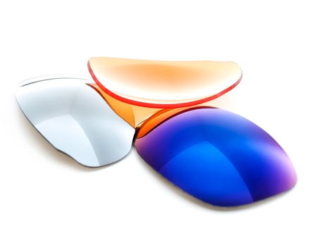 Several sunglasses filters on a white background. Stock Photo