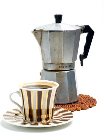 caf: Cup full of black coffee and coffee cooker on a white background