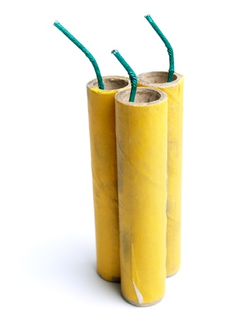 Three yellow firecrackers on a white background. photo