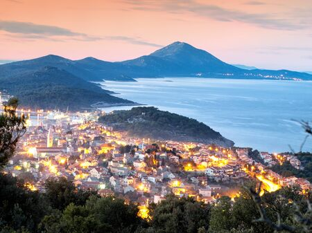 mali: Panoramic view in the evening of a town known as Mali Losinj, Croatia.