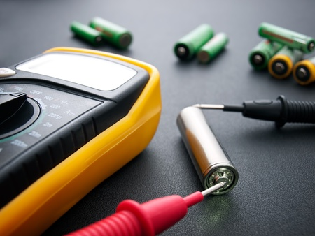 multimeter: Conceptual view about battery testing with electrical multimeter...