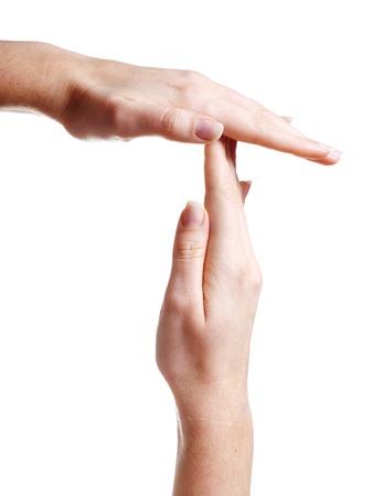 pausa: Mujeres manos en una posici�n para indicar se�al de tiempo de espera Foto de archivo