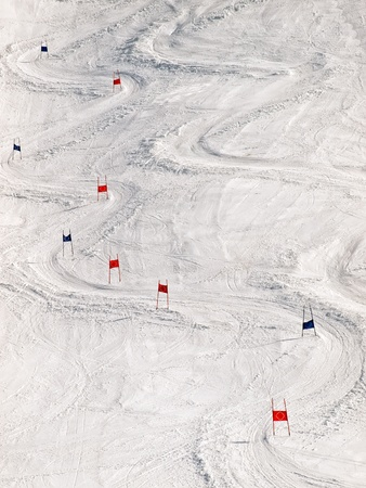 ski track: View of the ski slope with slalom markers.