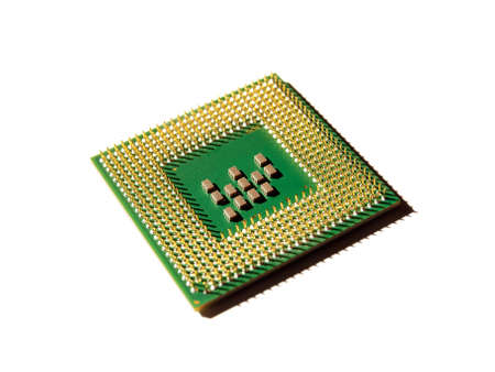 microprocessors: Computer processor on a white background.