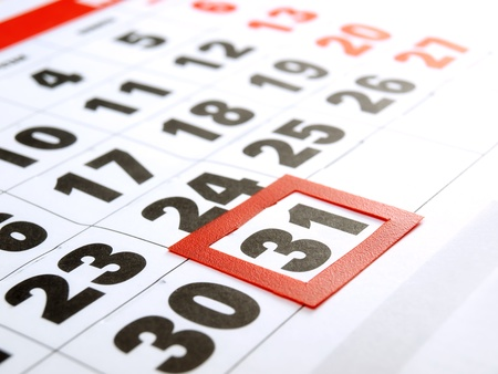 the end of time: Last day of the month marked on the calendar  Stock Photo