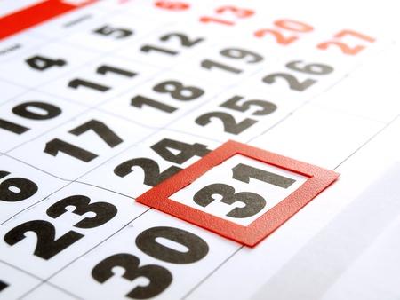 Letzter Tag des Monats auf dem Kalender markiert Lizenzfreie Bilder