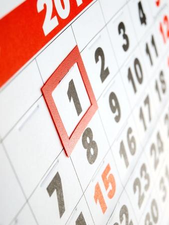 almanak: Eerste dag van de maand aangegeven op de kalender