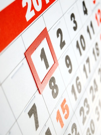 calendar day: First day of the month marked on the calendar