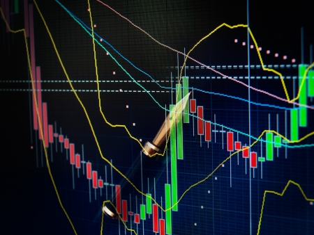 sell shares: Candlestick graph and fountain pen as symbols of the stock market  Stock Photo