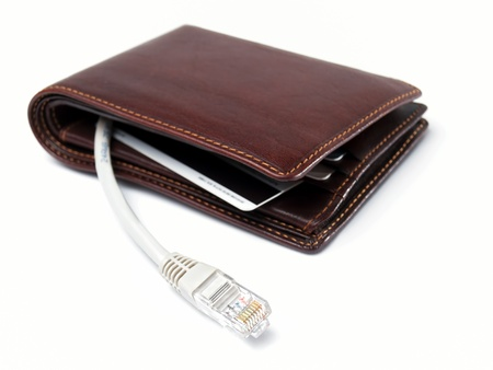 Conceptual view of a wallet with network cable plug as a symbol of the netbanking service  photo
