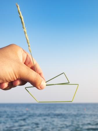 metaphorical: Metaphorical view of man desires to own his vessel    Stock Photo