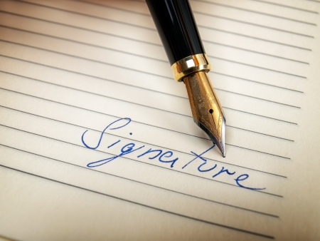 testimony: Closeup of signature word and fountain pen in retro style,