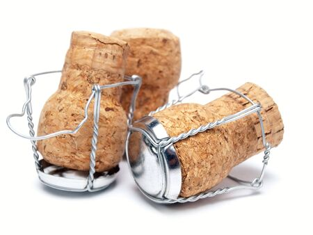 champagne cork: Champagne corks on a white background