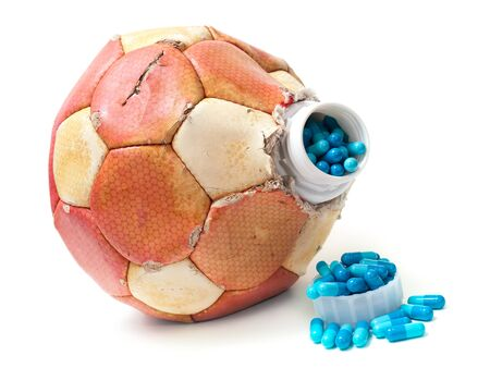 Conceptal view about doping in Soccer on a white background